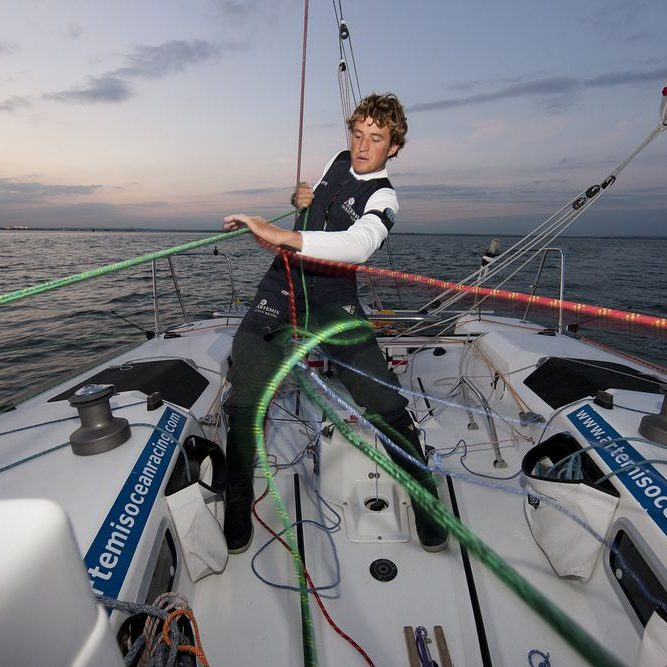 Pictures of Sam Goodchild training onboard his Artemis Figaro prior to the stat of the Solitaire du Figaro later this month.  Credit: Lloyd Images