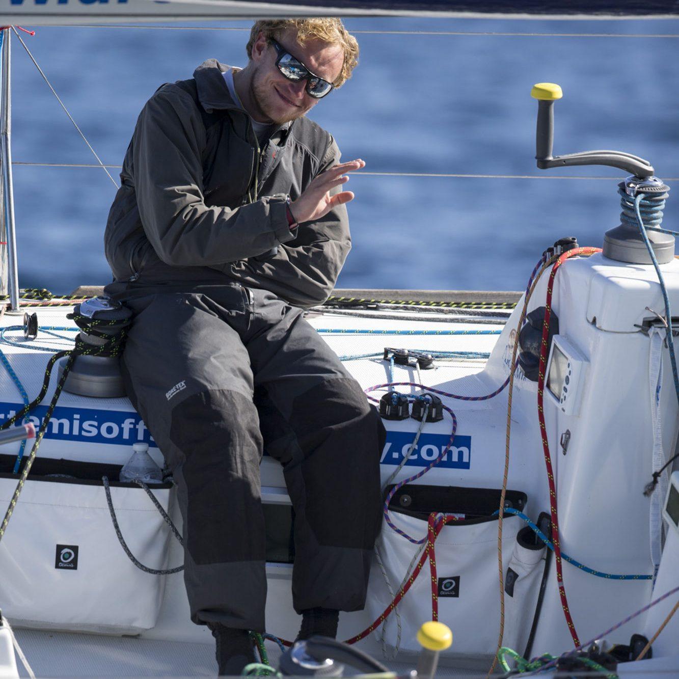 Robin Elsey (Artemis 43) lors de la 1ere etape de la Solitaire du Figaro Eric Bompard cachemire 2015 - Jour 1 - le 01/06/2015